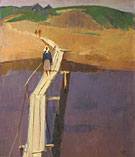 Artist Sergei Osipov. Crossing over the river. 1968